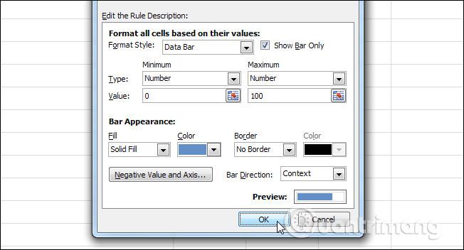 Thiết lập tương tự như trong Excel 2013