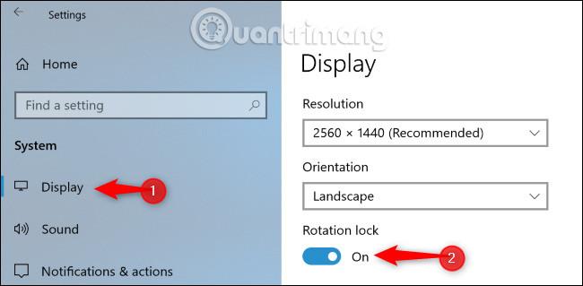 Bật Rotation lock trong ứng dụng Settings