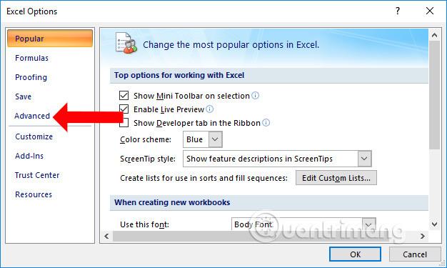 Cách tắt gợi ý nội dung trên Excel - Ảnh minh hoạ 2