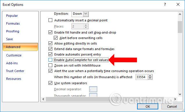 Cách tắt gợi ý nội dung trên Excel - Ảnh minh hoạ 3