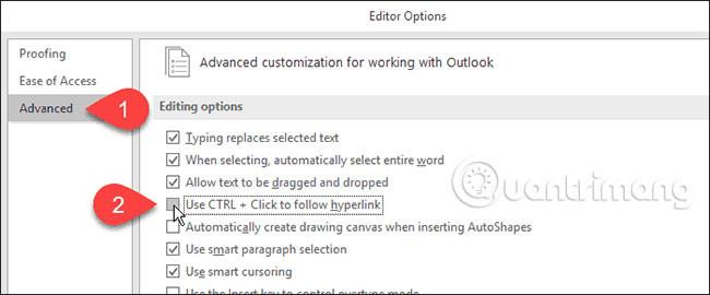 Cách mở liên kết trong Word, Outlook không cần phím Ctrl