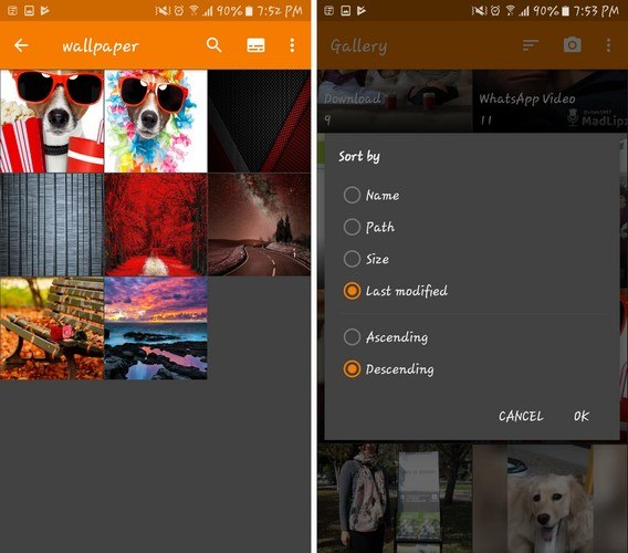 Giao diện Simple Gallery trên điện thoại Android