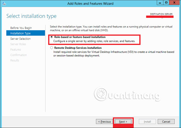 Role-basd or feature-based installation