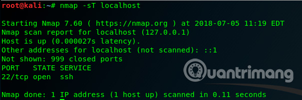 Sử dụng lệnh nmap -sU localhost