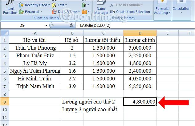 Cách tìm giá trị thứ N trong Excel - Ảnh minh hoạ 6