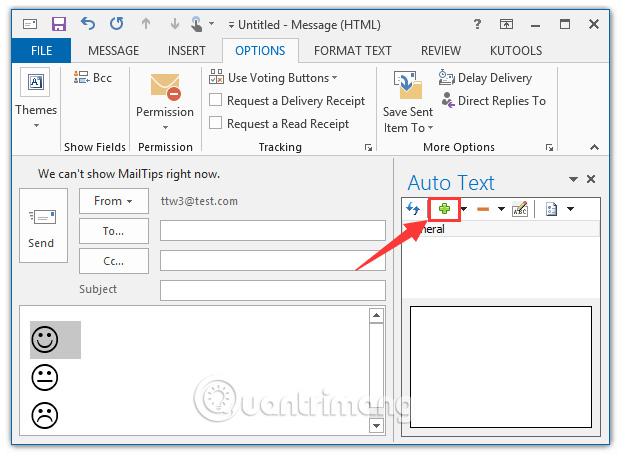 Cách chèn biểu tượng cảm xúc (mặt cười) trong email Outlook