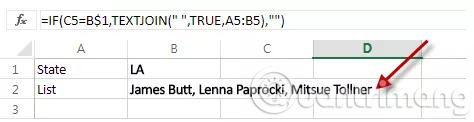 Cách sử dụng hàm TEXTJOIN trong Excel 2016
