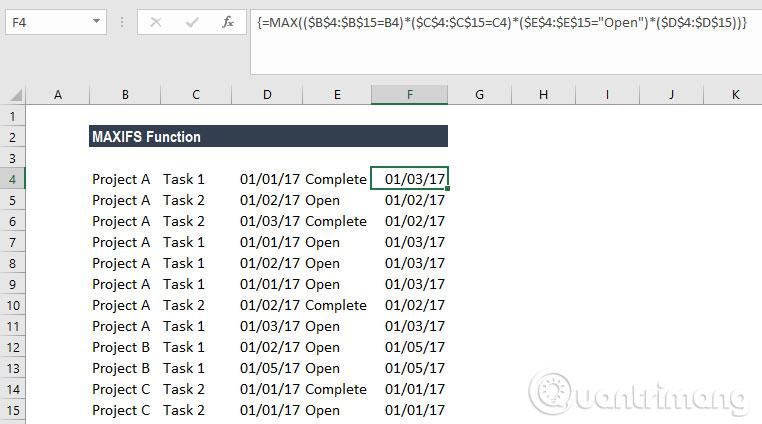 Cách sử dụng hàm MAXIFS trong Excel 2016