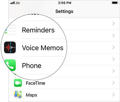 Mở cài đặt Voice Memos